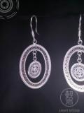 Sun Drum - Miao Silver Filigree Earrings