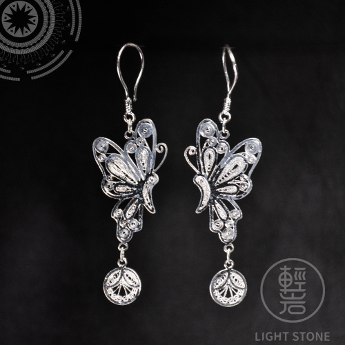 Butterfly - Miao Silver Filigree Earrings