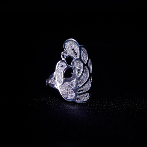 Peacock - Miao Silver Filigree Ring