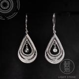 Water Drop - Miao Silver Filigree Earrings