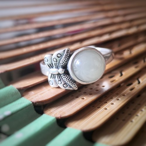 Butterfly - Vintage Jade Silver Ring