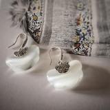 Clouds in Cat Eyes - Silver Mosaic Earrings