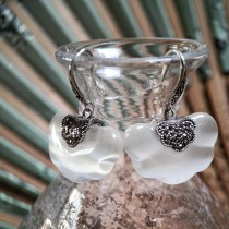 Clouds in Cat Eyes - Silver Mosaic Earrings