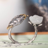 Bird -Chinese Jade Silver Ring - Handmade - Online Shop | LIGHT STONE