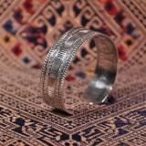 Chinese Artisan Jewelry - Flower Belt - Tibetan Handmade Silver Bracelet  LIGHT STONE
