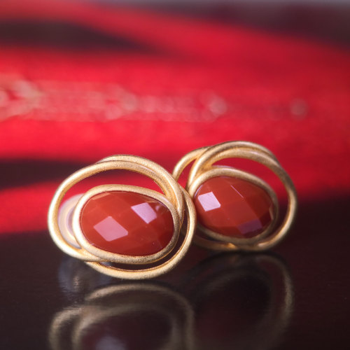 Circle - Vintage Red Agate Silver Earrings