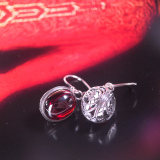 Chinese Artisan Jewelry -Red Drop - Chalcedony Silver Earrings| LIGHT STONE