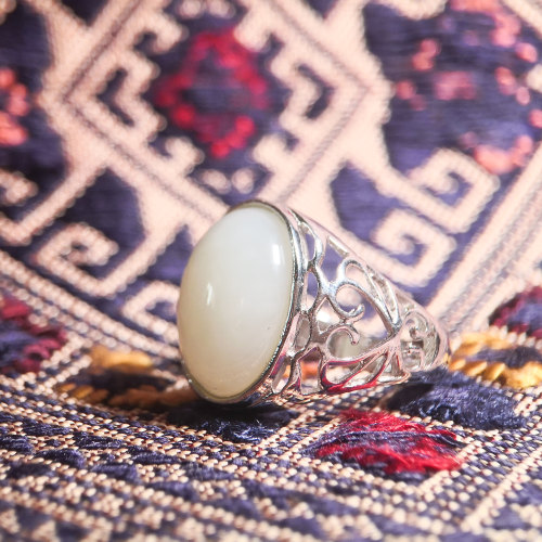 Vintage Flower - White Jade Silver Ring