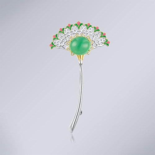 Fan - Cold Enameling Silver Brooch
