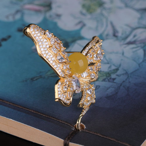 Butterfly - Amber Copper Brooch