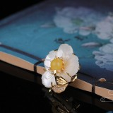 Flower - Mother of Pearl&Amber Copper Brooch