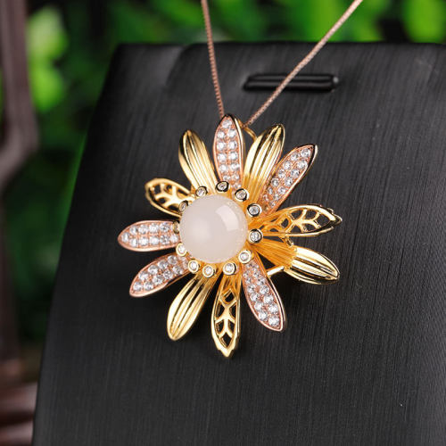 Sunflower - White Jade Silver Brooch