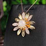Sunflower - White Jade Silver Brooch