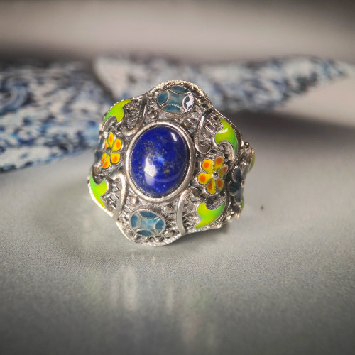 Lucky Coin - Cloisonne Silver Ring