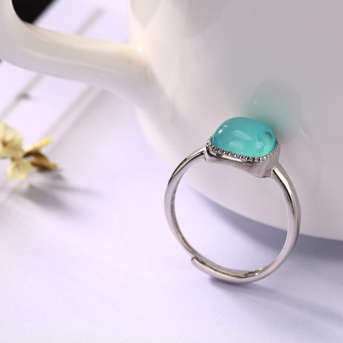 Square Amazonite - Silver Ring