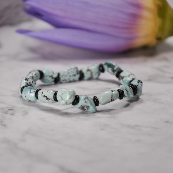 Hazy Blue - Turquoise Handmade Tibetan Bracelet