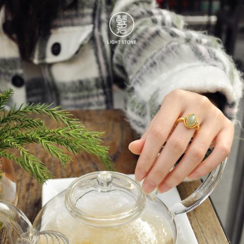 Green Wind - Jade Silver Ring