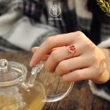 Chinese Artisan Jewellery - Plum Flower - Burning Blue Cloisonne Enamel Silver Ring | LIGHT STONE