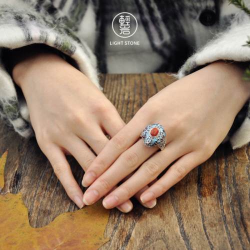 Lotus Flower - Burning Blue Cloisonné Silver Ring