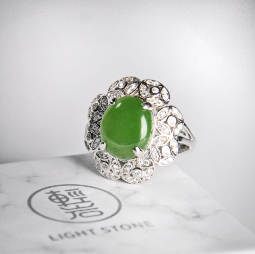 Flower -Green Hetian Jade Silver Ring