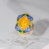 Forbidden City- Burning Blue Cloisonné - Lotus- Guilt Silver Chalcedony Ring