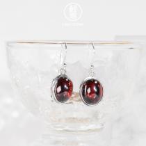 Red Drop - Chalcedony Silver Earrings