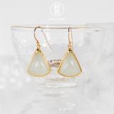 Chinese Artisan  Jewelry- Fan - Jade Silver Earrings | LIGHT STONE