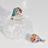 Chinese Artisan Jewelry- Balloon - Glass Enameling Silver Earrings| LIGHT STONE