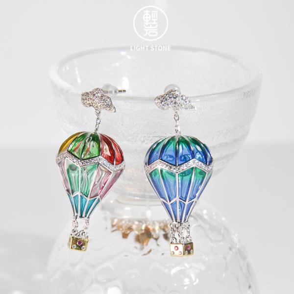 Balloons - Glass Enameling Silver Earrings