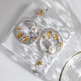 Moon Over Ocean - Silver Pearl Earrings