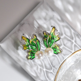 Chinese Artisan  Jewelry- Butterfly - Glass Enamelling Painting Silver Ear Stud| LIGHT STONE
