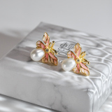 Chinese Artisan  Jewelry- Bees Flying - Enameling Silver Ear Stud| LIGHT STONE
