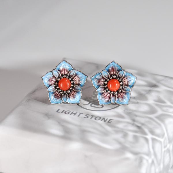 Blue Star Flower- Blue Cloisonné Silver Ear Stud