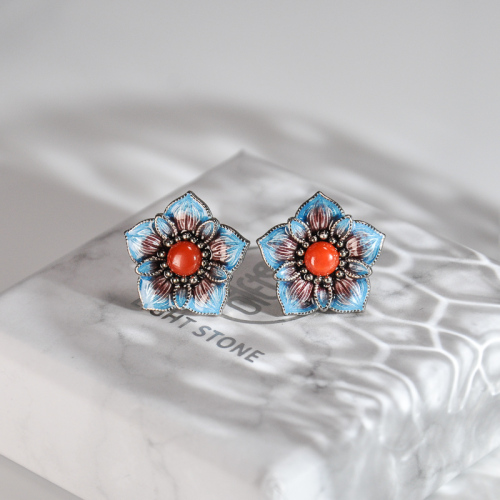 Blue Star Flower- Blue Cloisonné Silver Ear Stud