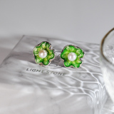 chinese handmade earrings silver green lotus leaf enamel earrings