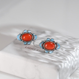 Online Earrings -  Clover - Burning Blue Chinese Cloisonné Silver Ear Stud