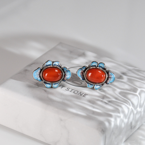 Clover -Burning Blue Cloisonné Silver Ear Stud