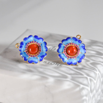 Flower - Red Agate - Burning Blue Cloisonné Silver Ear Stud