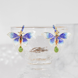 Online Earrings - Butterfly of Forbidden City - Chinese Cloisonne Silver Earrings| LIGHT STONE