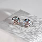 Online Earrings - Peacock -Chinese Cloisonné Silver Ear Stud  | LIGHT STONE