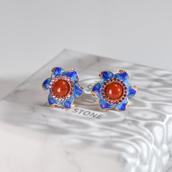 Star Flower - Burning Blue Cloisonné Red Agate Silver Ear Stud