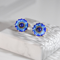 Flower - Lazurite - Burning Blue Cloisonné  Silver Ear Stud