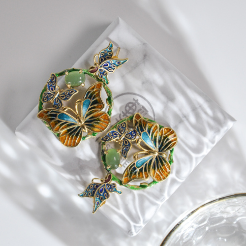 Butterfly - Burning Blue Cloisonne Jade Silver Earrings