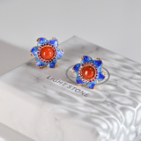 Online Earrings - Star Flower - Chinese Cloisonné Red Agate Silver Ear Stud