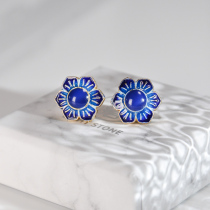 Gilt Flower - Burning Blue Cloisonné Silver Ear Stud