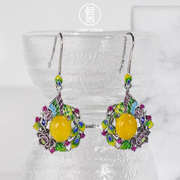 Purple Phoenix - Cloisonne Enameling Silver Earrings