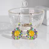 Online Earrings - Purple Phoenix - Cloisonne Enameling Silver Earrings| LIGHT STONE