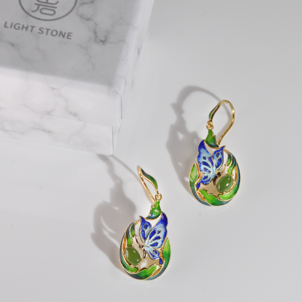 Butterfly - Cloisonne Silver Earrings