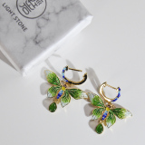 Online Earrings - Butterfly of Forbidden City - Chinese Cloisonne Silver Earrings| LIGHT STONE