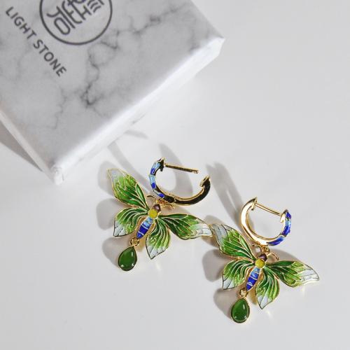 Butterfly of Forbidden City - Burning Blue/Cloisonne Silver Earrings